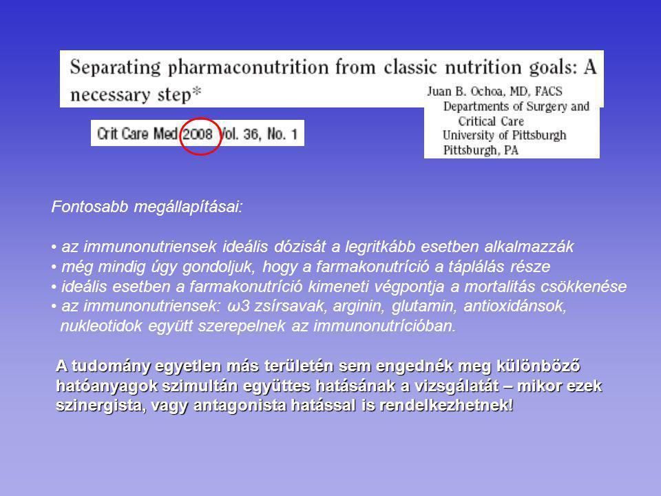 Fontosabb megállapításai: az immunonutriensek ideális dózisát a legritkább esetben alkalmazzák még mindig úgy gondoljuk, hogy a farmakonutríció a tápl