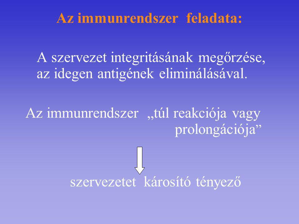 """Az immunrendszer feladata: A szervezet integritásának megőrzése, az idegen antigének eliminálásával. Az immunrendszer """"túl reakciója vagy prolongációj"""
