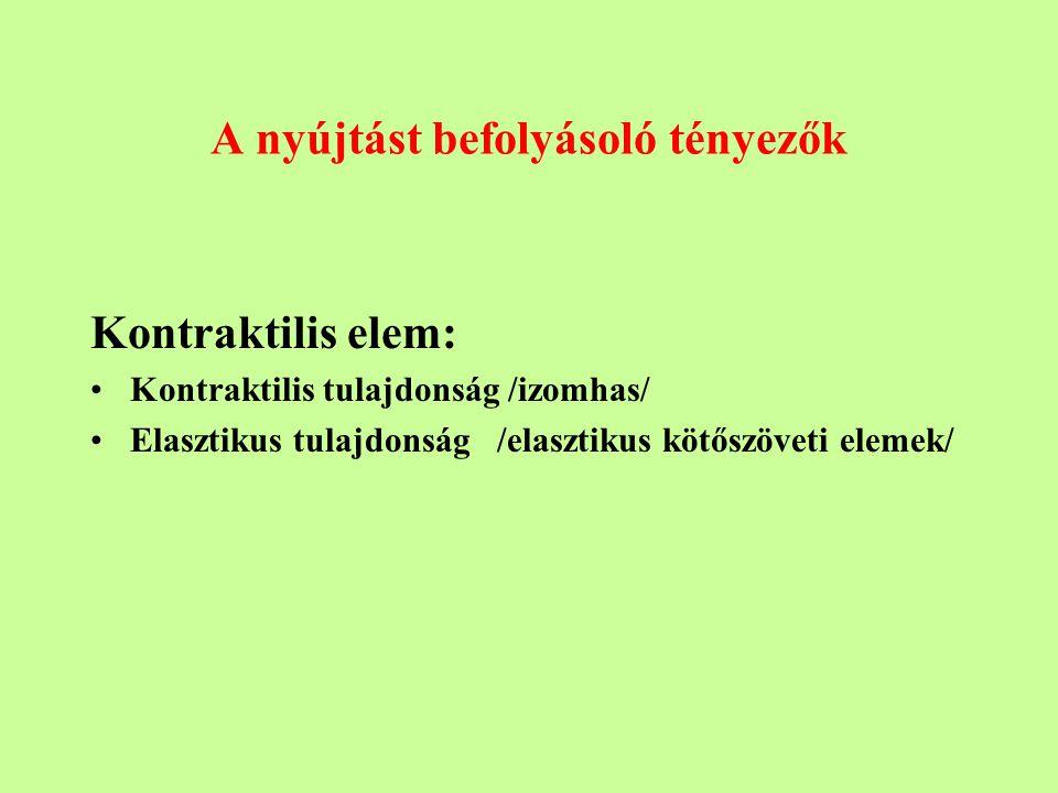 A nyújtást befolyásoló tényezők Kontraktilis elem: Kontraktilis tulajdonság /izomhas/ Elasztikus tulajdonság /elasztikus kötőszöveti elemek/