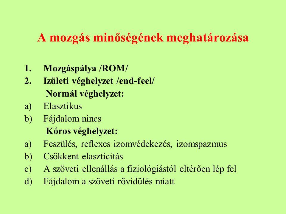 A mozgás minőségének meghatározása 1.Mozgáspálya /ROM/ 2.Izületi véghelyzet /end-feel/ Normál véghelyzet: a)Elasztikus b)Fájdalom nincs Kóros véghelyzet: a)Feszülés, reflexes izomvédekezés, izomspazmus b)Csökkent elaszticitás c)A szöveti ellenállás a fiziológiástól eltérően lép fel d)Fájdalom a szöveti rövidülés miatt