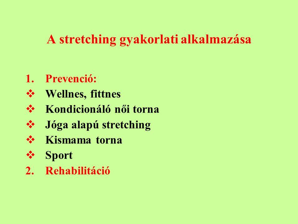 A stretching gyakorlati alkalmazása 1.Prevenció:  Wellnes, fittnes  Kondicionáló női torna  Jóga alapú stretching  Kismama torna  Sport 2.Rehabilitáció