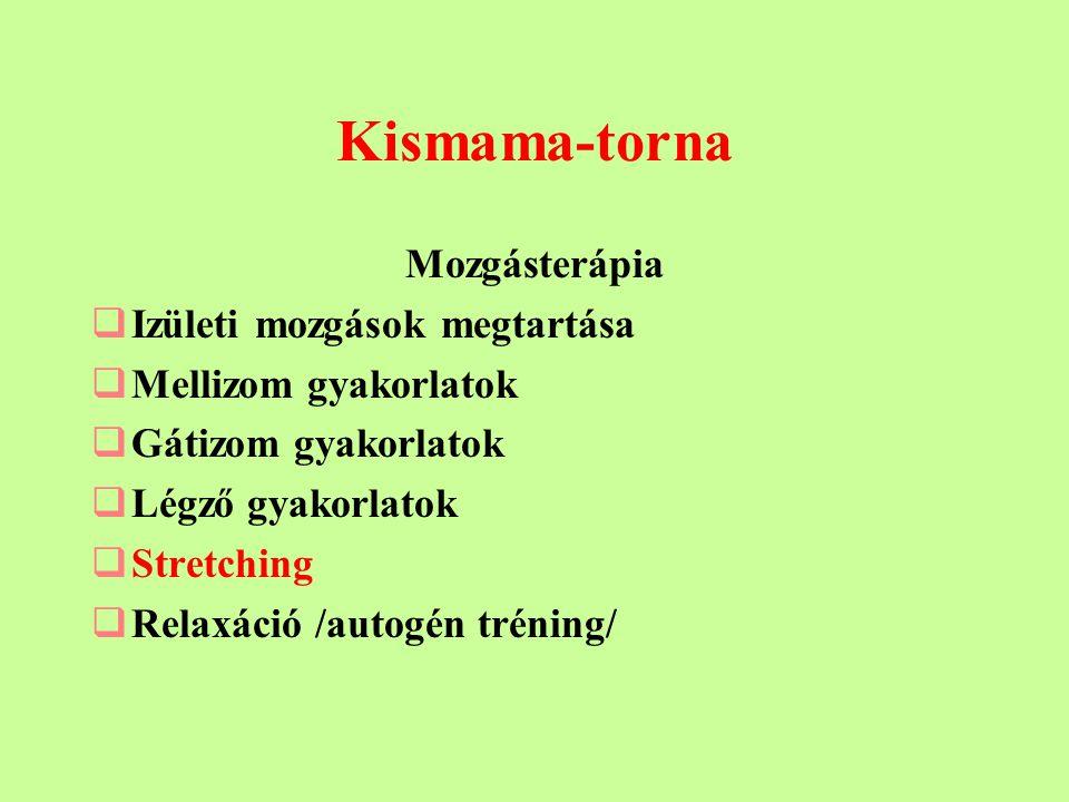 Kismama-torna Mozgásterápia  Izületi mozgások megtartása  Mellizom gyakorlatok  Gátizom gyakorlatok  Légző gyakorlatok  Stretching  Relaxáció /autogén tréning/