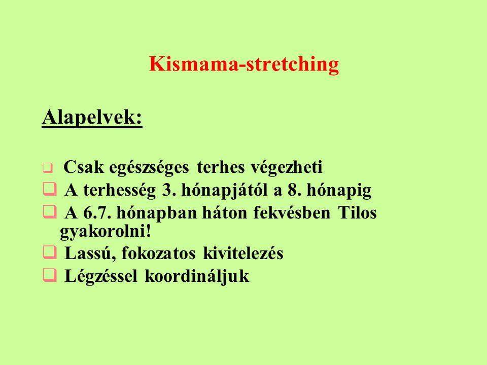 Kismama-stretching Alapelvek:  Csak egészséges terhes végezheti  A terhesség 3.