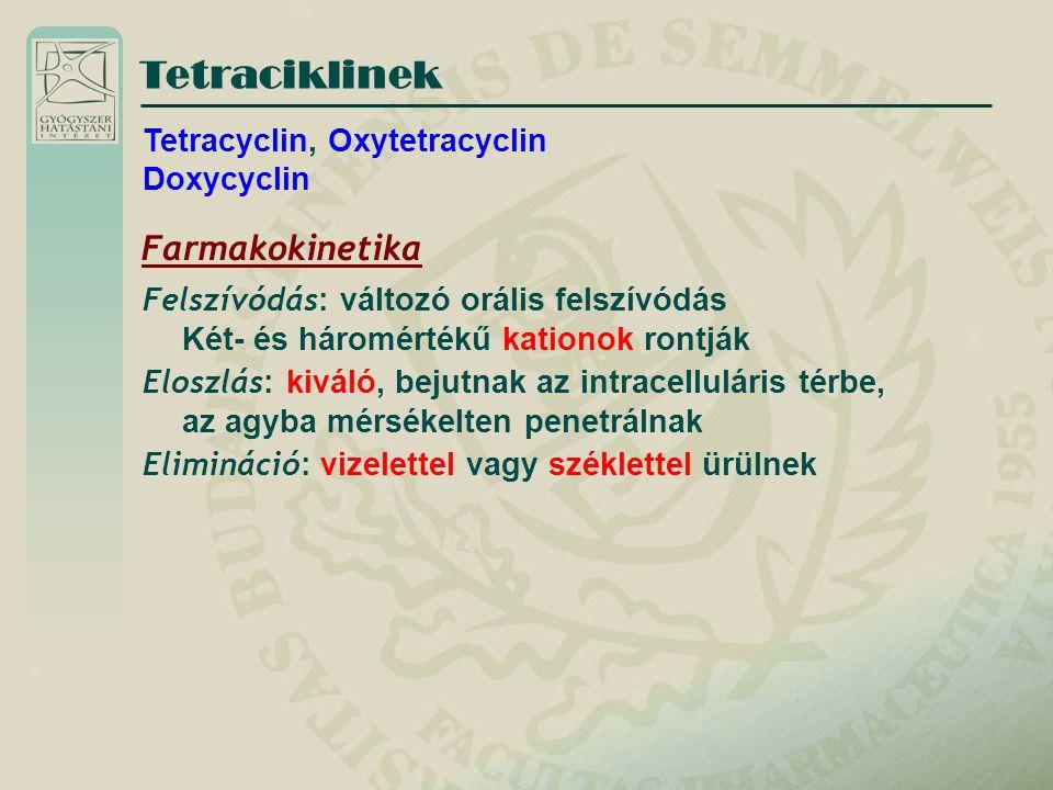 Tetracyclin, Oxytetracyclin Doxycyclin Farmakokinetika Felszívódás : változó orális felszívódás Két- és háromértékű kationok rontják Eloszlás : kiváló