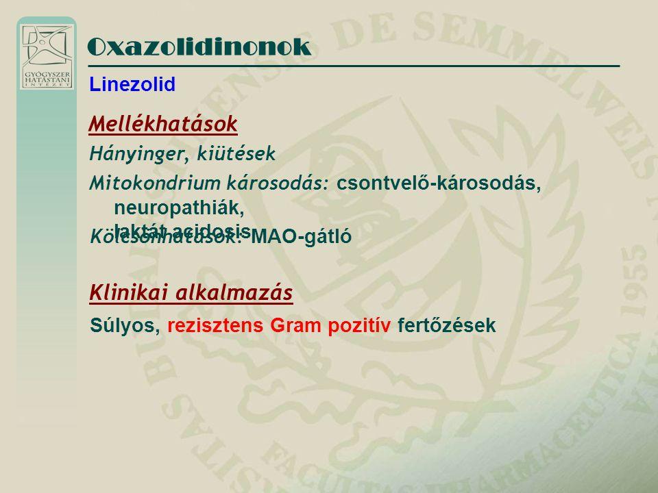 Oxazolidinonok Linezolid Mellékhatások Hányinger, kiütések Mitokondrium károsodás: csontvelő-károsodás, neuropathiák, laktát acidosis Klinikai alkalma