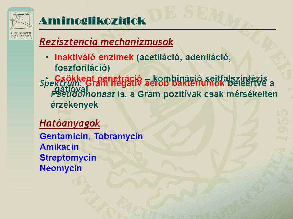 Spektrum : Gram negatív aerob baktériumok beleértve a Pseudomonast is, a Gram pozitívak csak mérsékelten érzékenyek Gentamicin, Tobramycin Amikacin St