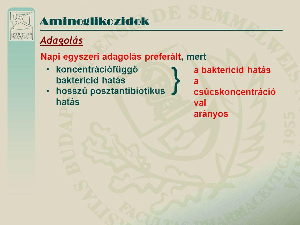 Aminoglikozidok Adagolás Napi egyszeri adagolás preferált, mert koncentrációfüggő baktericid hatás hosszú posztantibiotikus hatás a baktericid hatás a