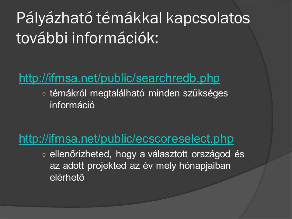 Pályázható témákkal kapcsolatos további információk: http://ifmsa.net/public/searchredb.php ○ témákról megtalálható minden szükséges információ http://ifmsa.net/public/ecscoreselect.php ○ ellenőrizheted, hogy a választott országod és az adott projekted az év mely hónapjaiban elérhető