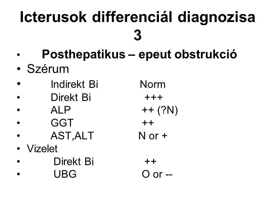Icterusok differenciál diagnozisa 3 Posthepatikus – epeut obstrukció Szérum Indirekt Bi Norm Direkt Bi +++ ALP ++ (?N) GGT ++ AST,ALT N or + Vizelet D