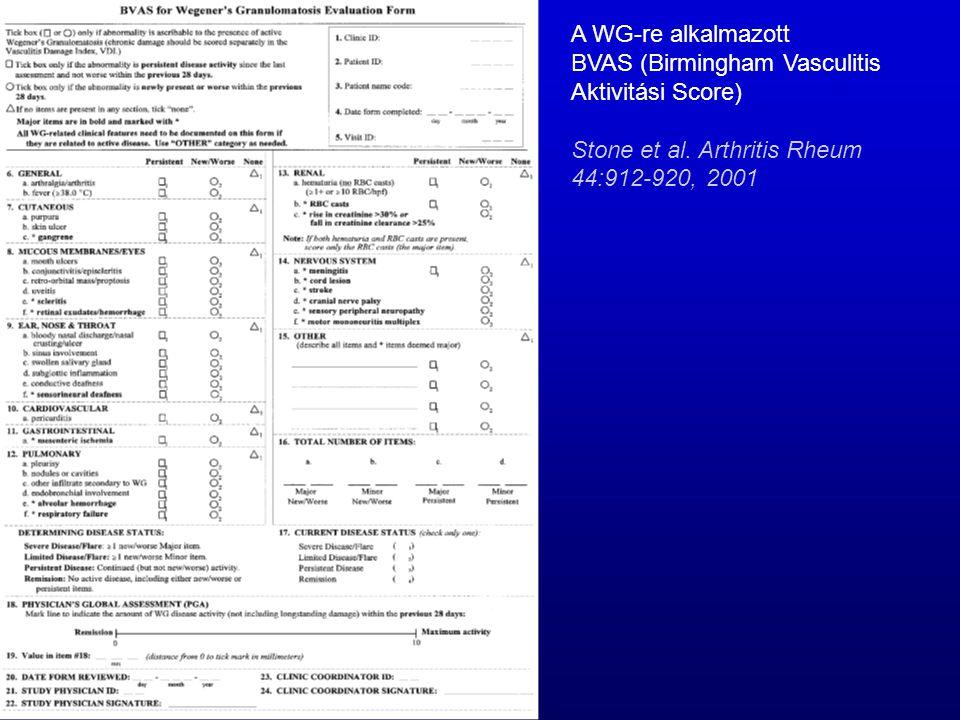 A WG-re alkalmazott BVAS (Birmingham Vasculitis Aktivitási Score) Stone et al.