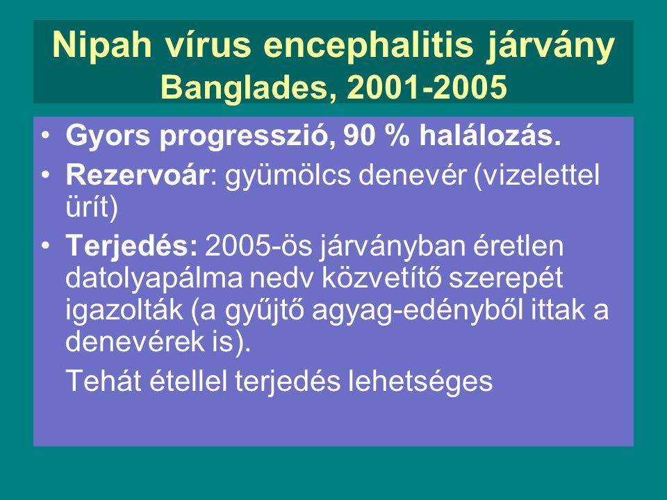 Nipah vírus okozta encephalitis (Malaysia, 1998. október - 1999. április) ESET: 48 éves farmer: láz, fejfájás, álmosság, zavartság, homályos látás, ma