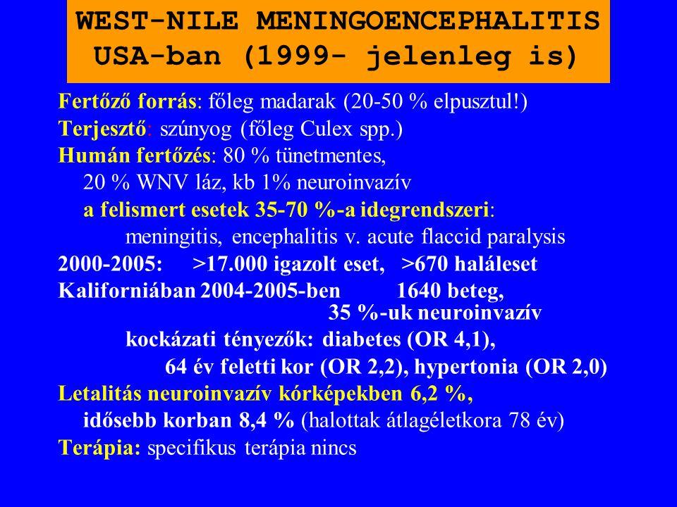 WEST-NILE MENINGOENCEPHALITIS ROMÁNIÁBAN (1996 és 1997) BUKARESTBEN ÉS KÖRNYÉKÉN ÖSSZESEN 500 ESET. LETALITÁS 10 % VOLT! EPIDEMIOLÓGIA: Vándormadarak