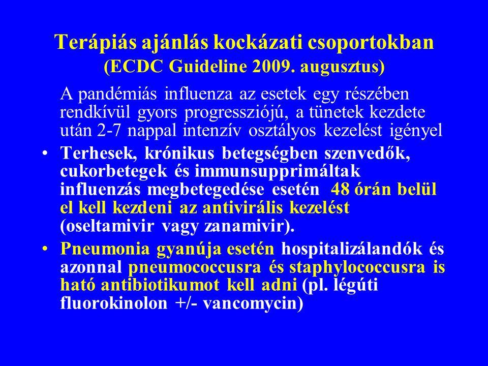 Fokozott kockázatú csoportok (ECDC Útmutató 2009. augusztus) 65 évesnél fiatalabb személyek (köztük a gyermekek is), akik az alábbi betegségekben szen