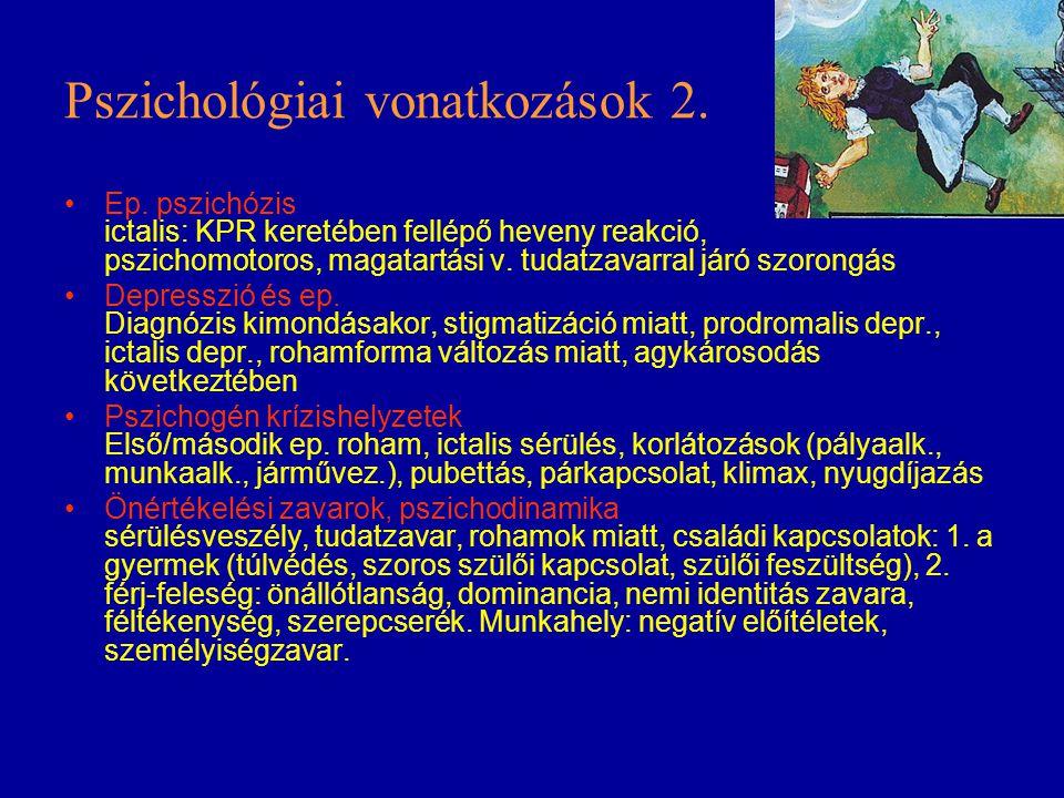 Pszichológiai vonatkozások 2. Ep. pszichózis ictalis: KPR keretében fellépő heveny reakció, pszichomotoros, magatartási v. tudatzavarral járó szorongá