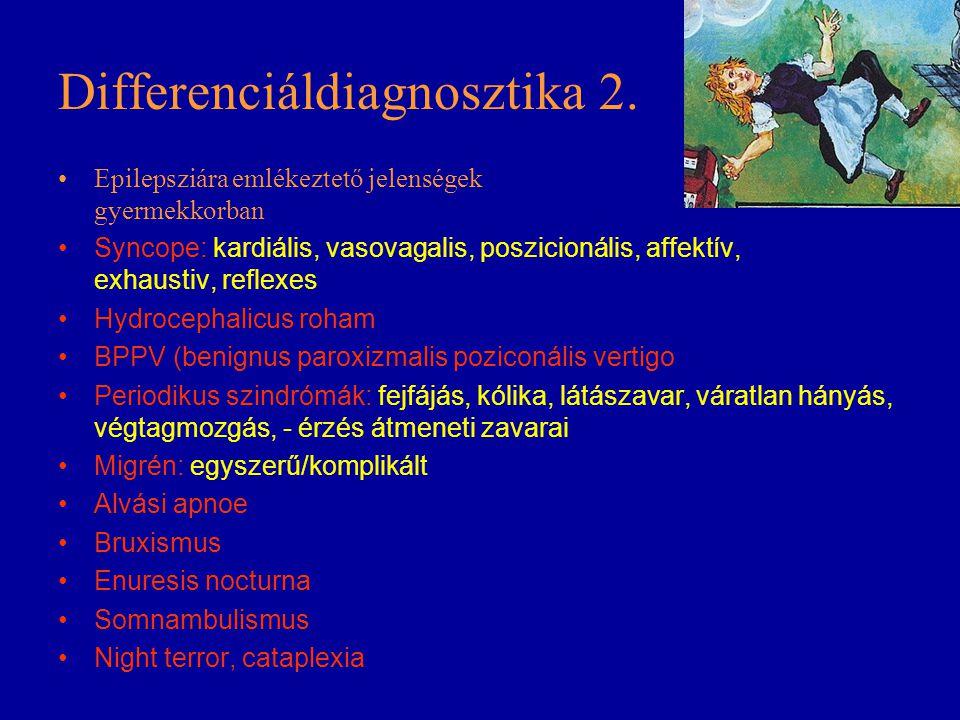 Differenciáldiagnosztika 2. Epilepsziára emlékeztető jelenségek gyermekkorban Syncope: kardiális, vasovagalis, poszicionális, affektív, exhaustiv, ref