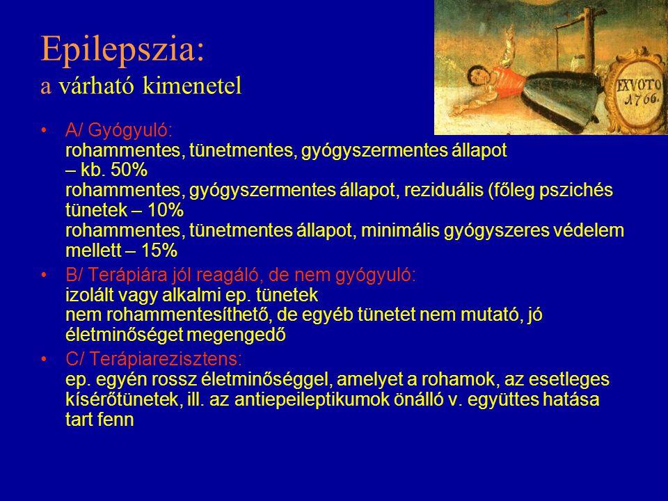 Epilepszia: a várható kimenetel A/ Gyógyuló: rohammentes, tünetmentes, gyógyszermentes állapot – kb. 50% rohammentes, gyógyszermentes állapot, reziduá