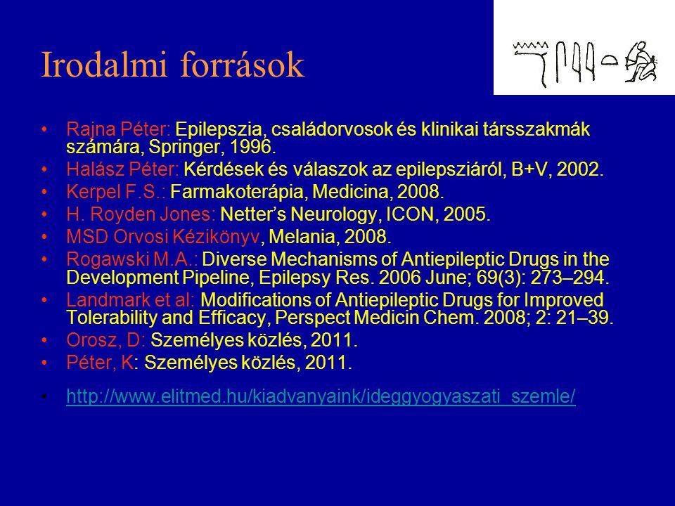 Irodalmi források Rajna Péter: Epilepszia, családorvosok és klinikai társszakmák számára, Springer, 1996. Halász Péter: Kérdések és válaszok az epilep