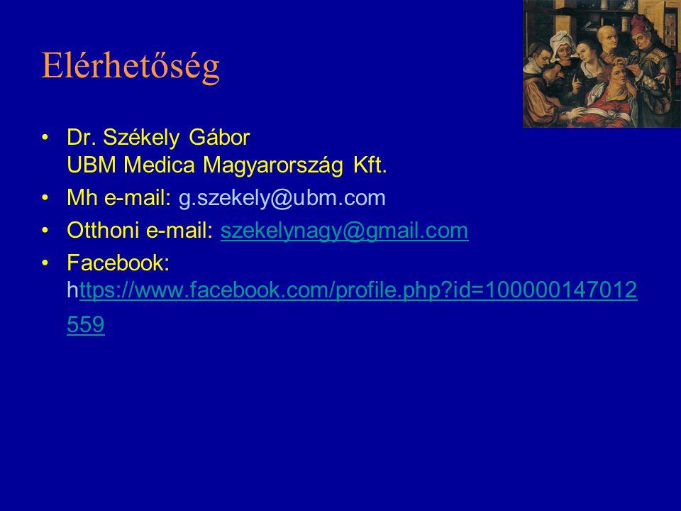 Elérhetőség Dr. Székely Gábor UBM Medica Magyarország Kft. Mh e-mail: g.szekely@ubm.com Otthoni e-mail: szekelynagy@gmail.comszekelynagy@gmail.com Fac