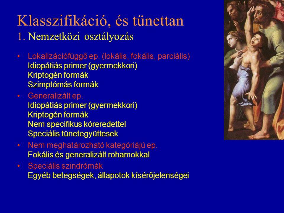 Klasszifikáció, és tünettan 1. Nemzetközi osztályozás Lokalizációfüggő ep. (lokális, fokális, parciális) Idiopátiás primer (gyermekkori) Kriptogén for