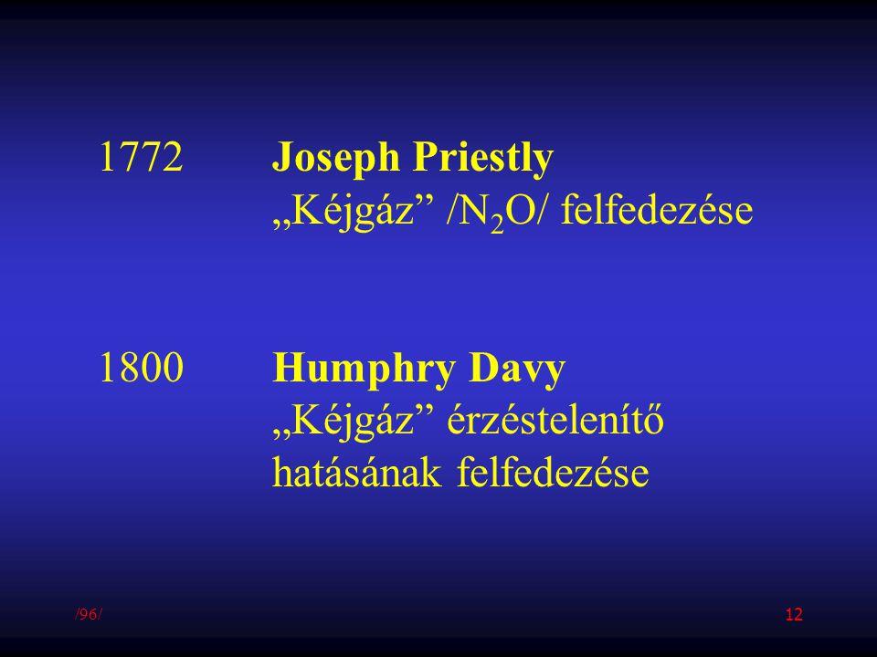 """1772Joseph Priestly """"Kéjgáz"""" /N 2 O/ felfedezése 1800Humphry Davy """"Kéjgáz"""" érzéstelenítő hatásának felfedezése /96/ 12"""