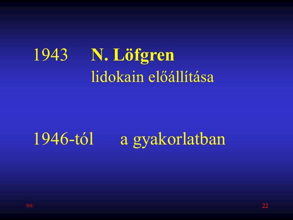 1943N. Löfgren lidokain előállítása 1946-tóla gyakorlatban /96/ 22