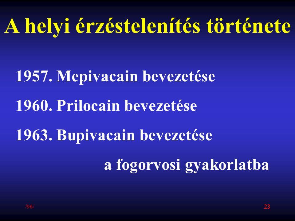 A helyi érzéstelenítés története 1957. Mepivacain bevezetése 1960. Prilocain bevezetése 1963. Bupivacain bevezetése a fogorvosi gyakorlatba /96/ 23