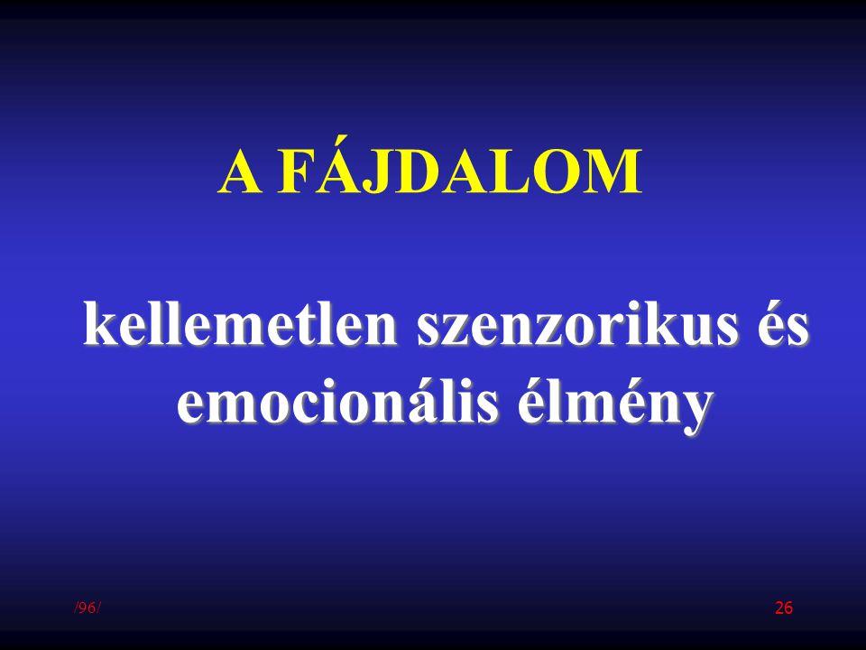 A FÁJDALOM kellemetlen szenzorikus és emocionális élmény /96/ 26