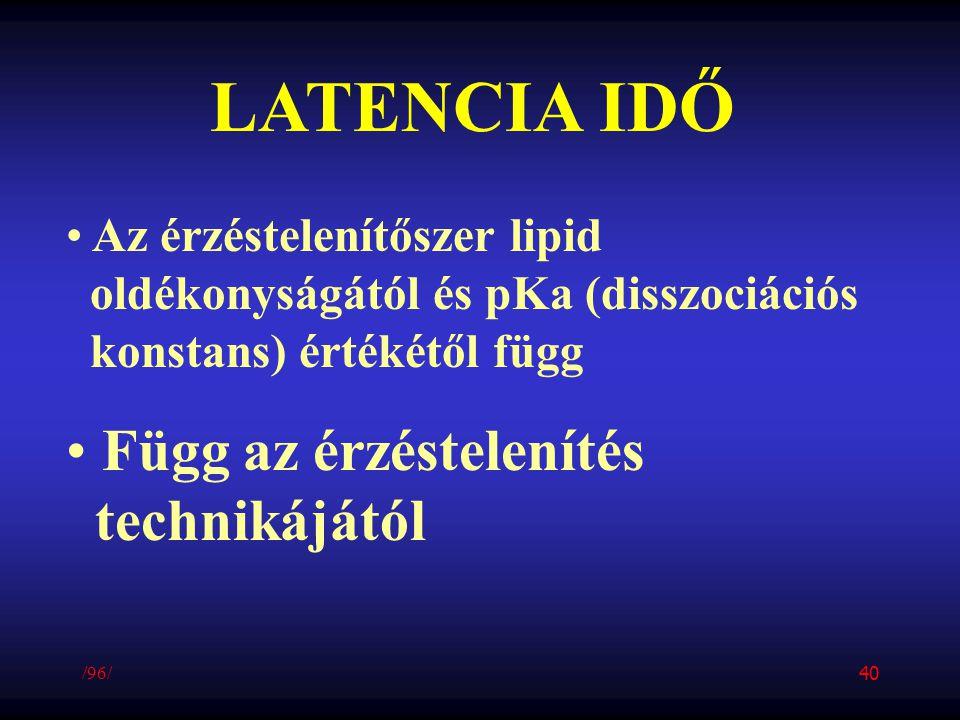 LATENCIA IDŐ Az érzéstelenítőszer lipid oldékonyságától és pKa (disszociációs konstans) értékétől függ Függ az érzéstelenítés technikájától /96/ 40