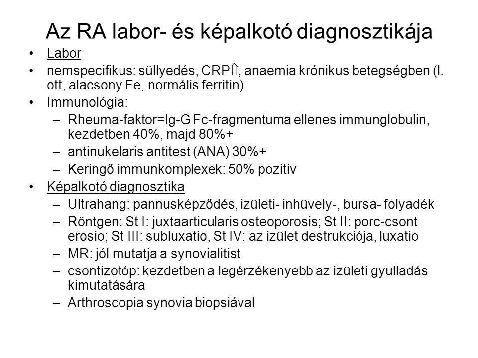 Az American College of Rheumatology kritériumai: ha 4 pozitív (és legalább hat hete) = RA legalább egyórás reggeli izületi merevség 3 vagy több izület gyulladása, legalább kettőben oedema és folyadék a proximalis kézizületek arthritise szimmetrikus arthritis rheumás csomók RF + típusos rtg.-jelek