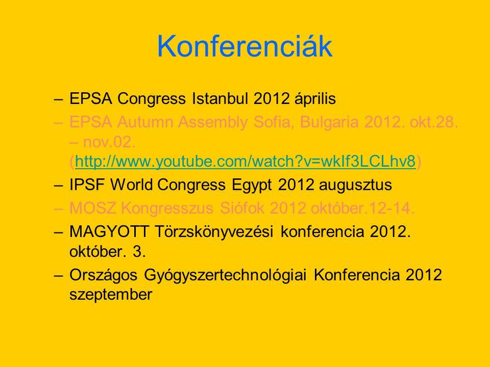 Konferenciák –EPSA Congress Istanbul 2012 április –EPSA Autumn Assembly Sofia, Bulgaria 2012.