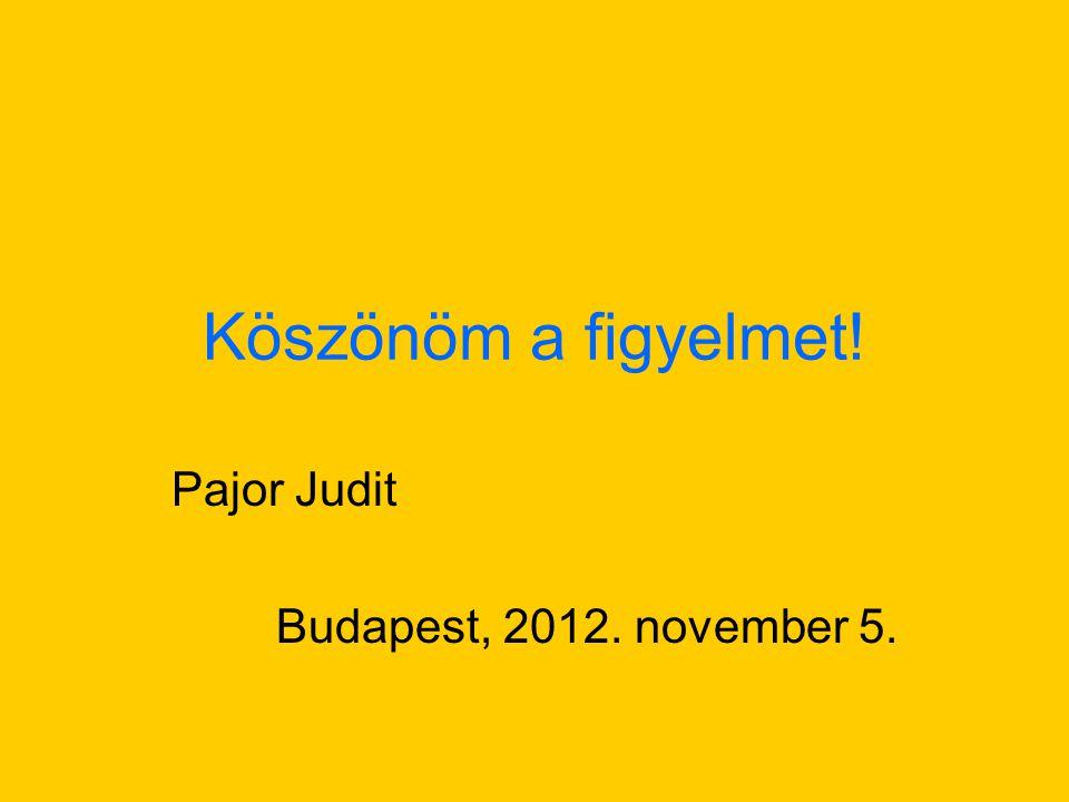 Köszönöm a figyelmet! Pajor Judit Budapest, 2012. november 5.