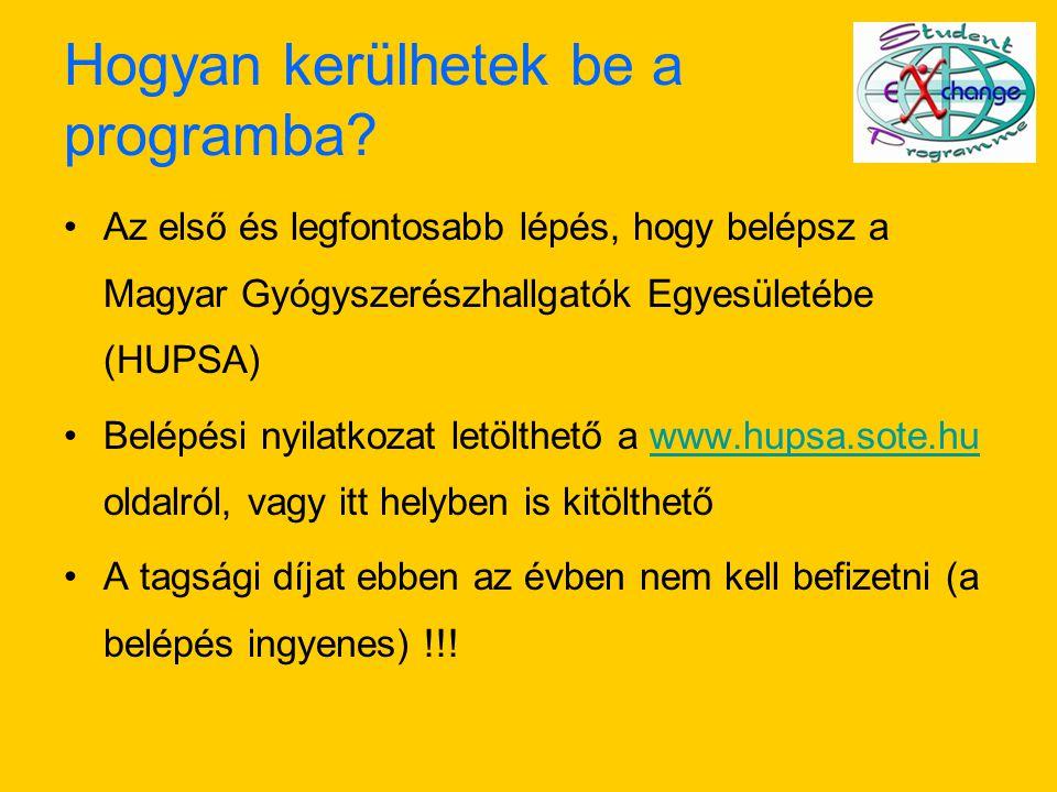 Hogyan kerülhetek be a programba? Az első és legfontosabb lépés, hogy belépsz a Magyar Gyógyszerészhallgatók Egyesületébe (HUPSA) Belépési nyilatkozat