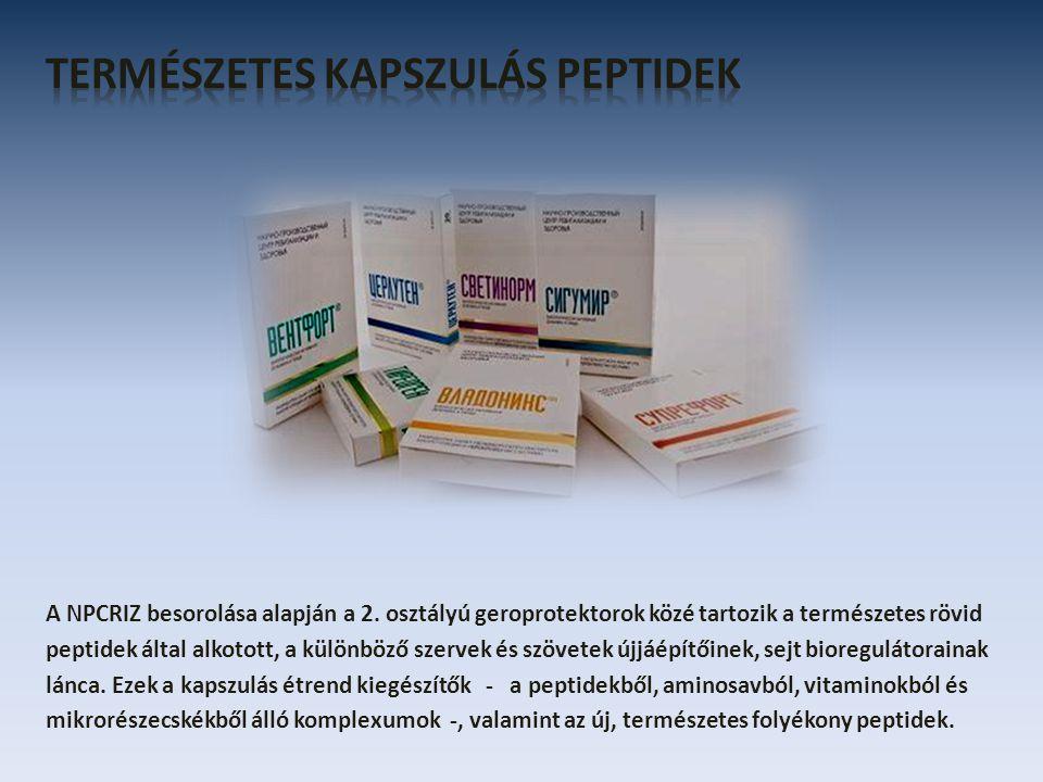 A NPCRIZ besorolása alapján a 2. osztályú geroprotektorok közé tartozik a természetes rövid peptidek által alkotott, a különböző szervek és szövetek ú