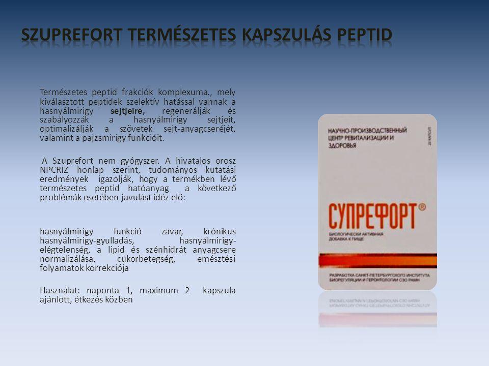 Természetes peptid frakciók komplexuma., mely kiválasztott peptidek szelektív hatással vannak a hasnyálmirigy sejtjeire, regenerálják és szabályozzák