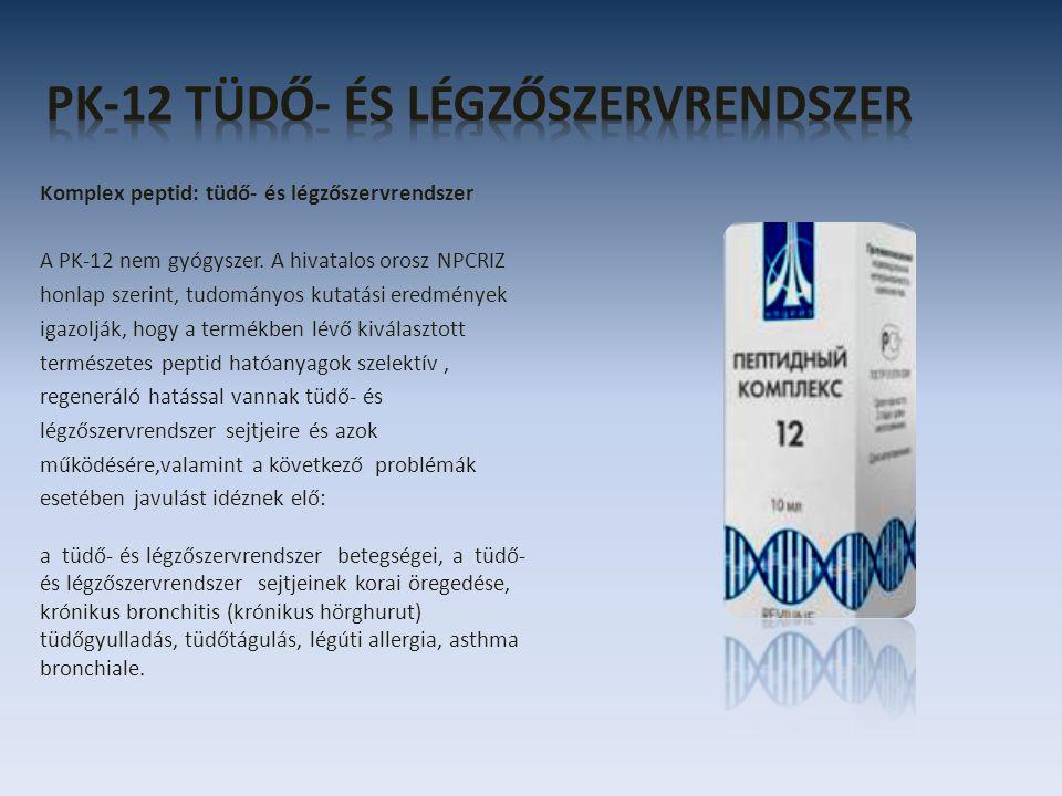 Komplex peptid: tüdő- és légzőszervrendszer A PK-12 nem gyógyszer. A hivatalos orosz NPCRIZ honlap szerint, tudományos kutatási eredmények igazolják,