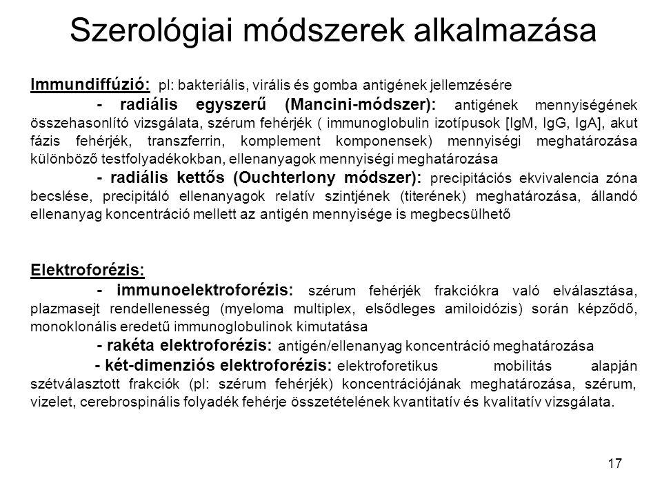 17 Szerológiai módszerek alkalmazása Immundiffúzió: pl: bakteriális, virális és gomba antigének jellemzésére - radiális egyszerű (Mancini-módszer): an