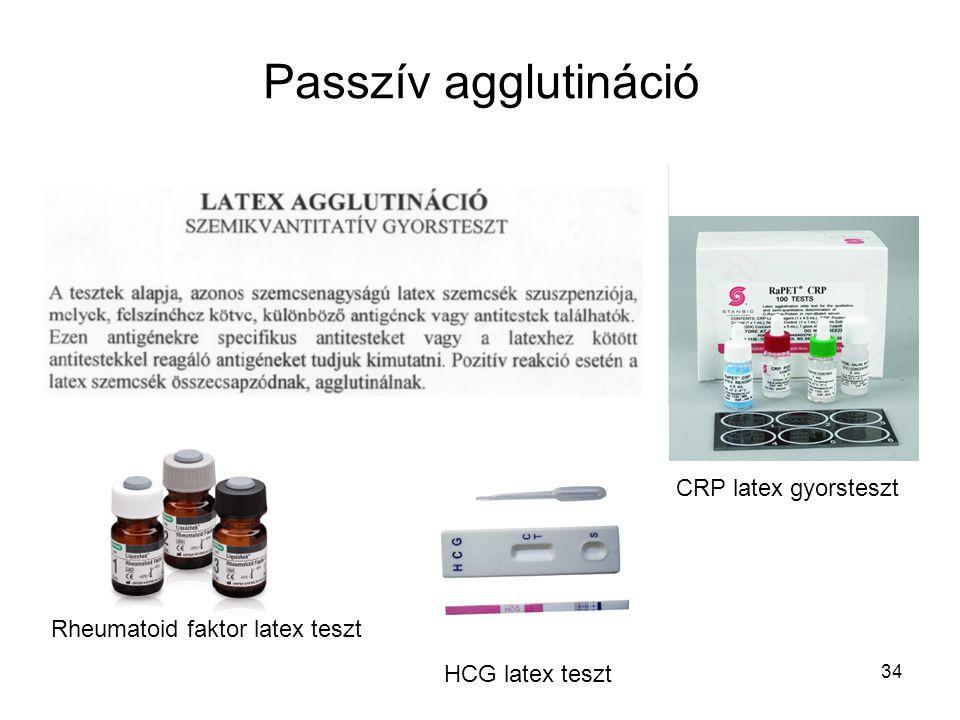 34 Passzív agglutináció CRP latex gyorsteszt Rheumatoid faktor latex teszt HCG latex teszt
