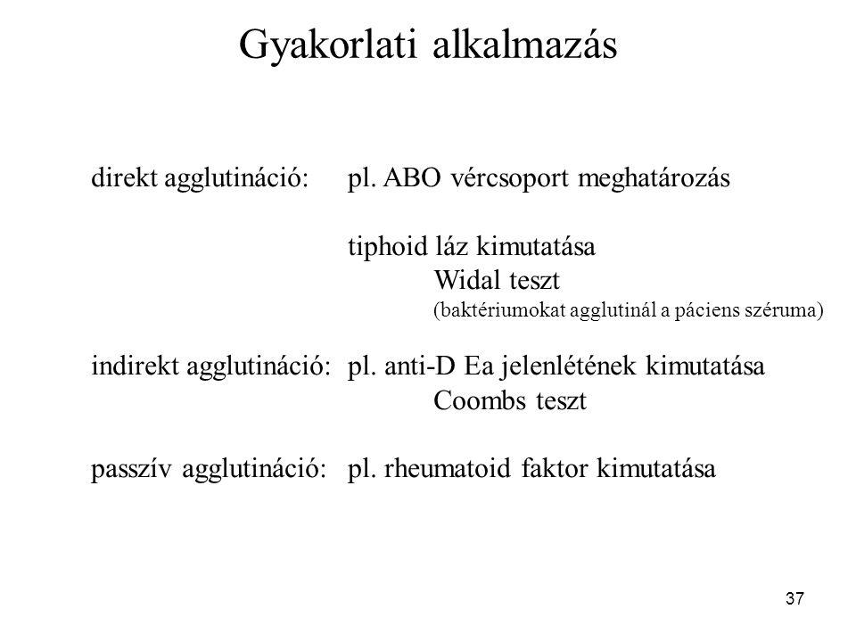 37 Gyakorlati alkalmazás direkt agglutináció:pl. ABO vércsoport meghatározás tiphoid láz kimutatása Widal teszt (baktériumokat agglutinál a páciens sz
