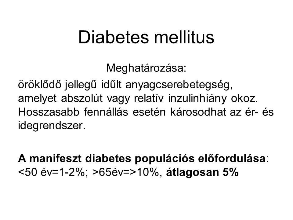 Diabetes mellitus Meghatározása: öröklődő jellegű idűlt anyagcserebetegség, amelyet abszolút vagy relatív inzulinhiány okoz. Hosszasabb fennállás eset