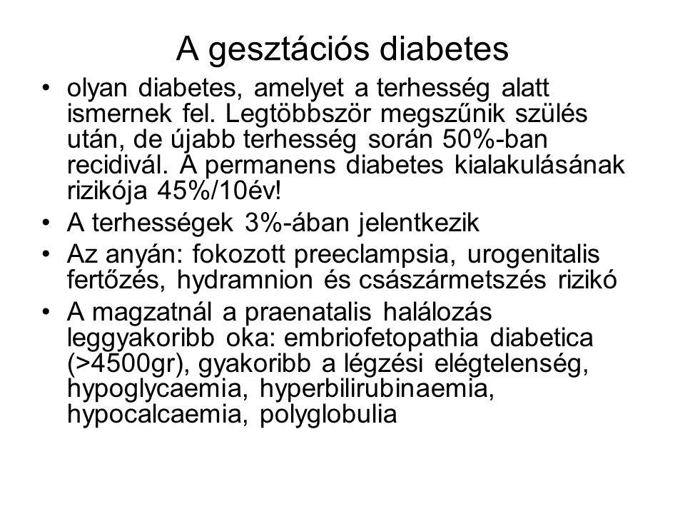 A gesztációs diabetes olyan diabetes, amelyet a terhesség alatt ismernek fel. Legtöbbször megszűnik szülés után, de újabb terhesség során 50%-ban reci