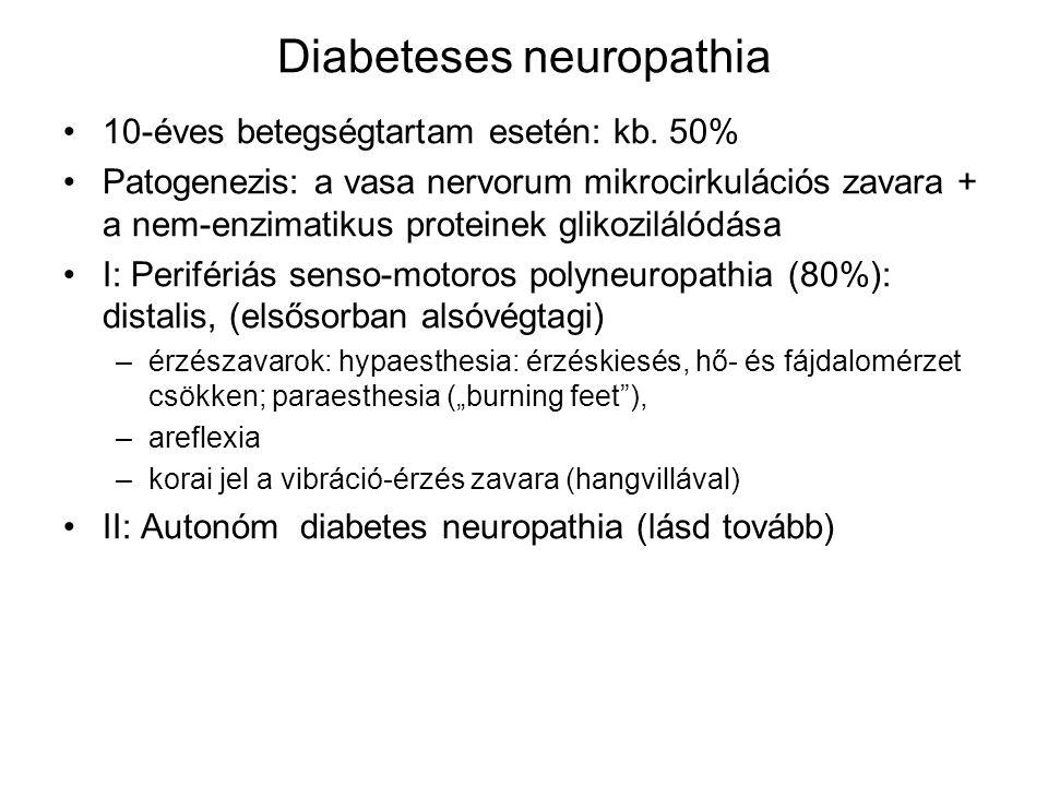 Diabeteses neuropathia 10-éves betegségtartam esetén: kb. 50% Patogenezis: a vasa nervorum mikrocirkulációs zavara + a nem-enzimatikus proteinek gliko