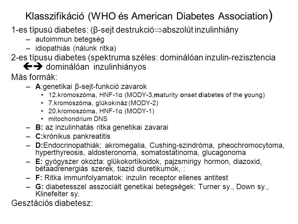 Klasszifikáció (WHO és American Diabetes Association ) 1-es típusú diabetes: (β-sejt destrukció  abszolút inzulinhiány –autoimmun betegség –idiopathi