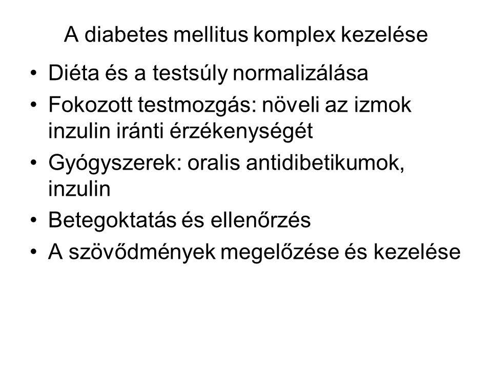 A diabetes mellitus komplex kezelése Diéta és a testsúly normalizálása Fokozott testmozgás: növeli az izmok inzulin iránti érzékenységét Gyógyszerek: