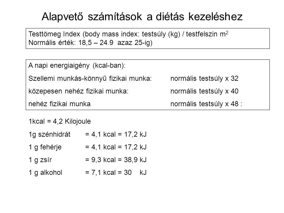 Alapvető számítások a diétás kezeléshez Testtömeg Index (body mass index: testsúly (kg) / testfelszin m 2 Normális érték: 18,5 – 24.9 azaz 25-ig) A na