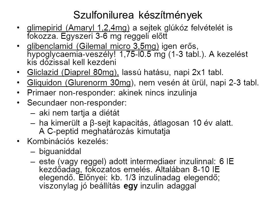 Szulfonilurea készítmények glimepirid (Amaryl 1,2,4mg) a sejtek glúkóz felvételét is fokozza. Egyszeri 3-6 mg reggeli előtt glibenclamid (Gilemal micr