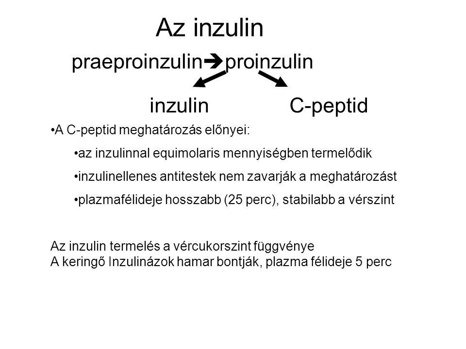 Az inzulin praeproinzulin  proinzulin inzulinC-peptid A C-peptid meghatározás előnyei: az inzulinnal equimolaris mennyiségben termelődik inzulinellen
