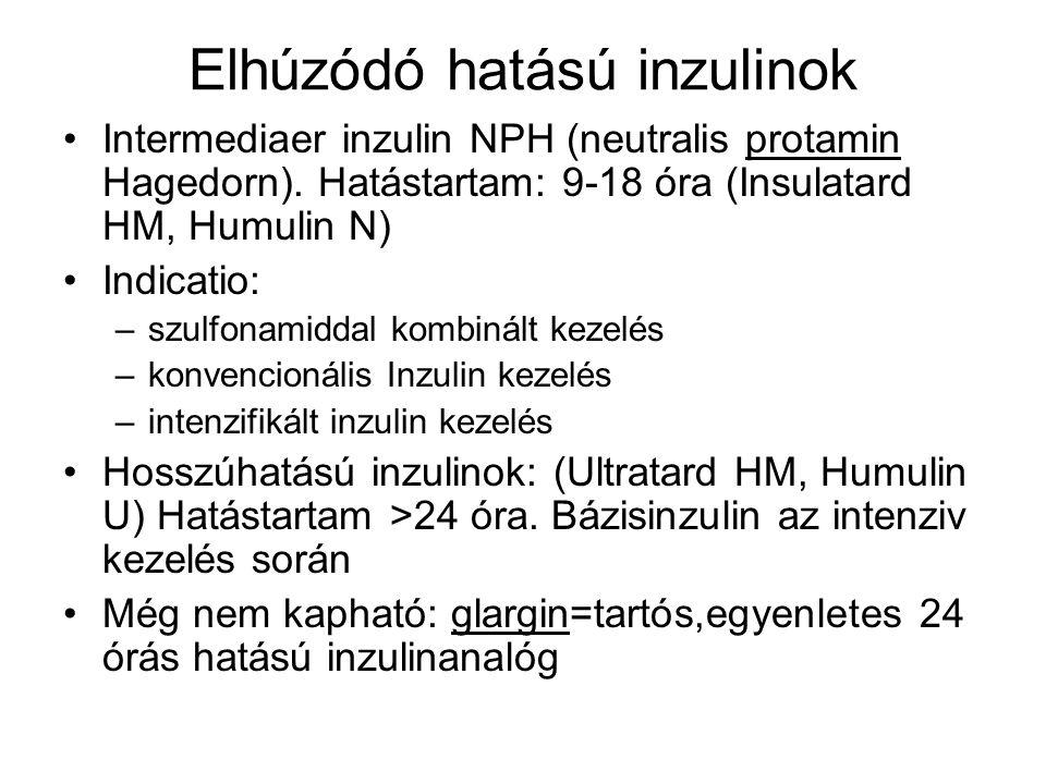 Elhúzódó hatású inzulinok Intermediaer inzulin NPH (neutralis protamin Hagedorn). Hatástartam: 9-18 óra (Insulatard HM, Humulin N) Indicatio: –szulfon