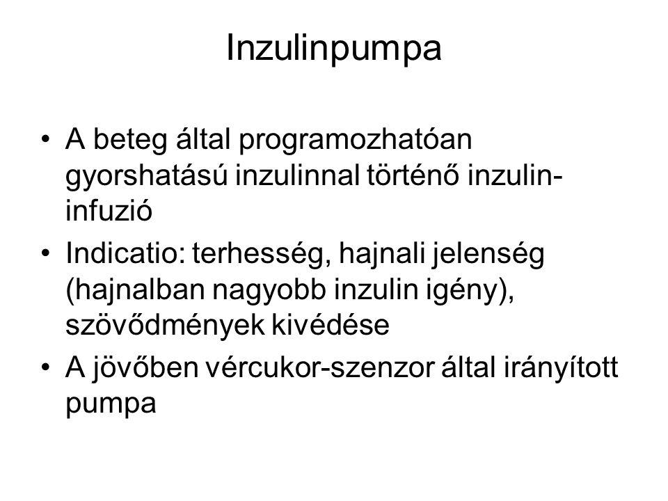 Inzulinpumpa A beteg által programozhatóan gyorshatású inzulinnal történő inzulin- infuzió Indicatio: terhesség, hajnali jelenség (hajnalban nagyobb i