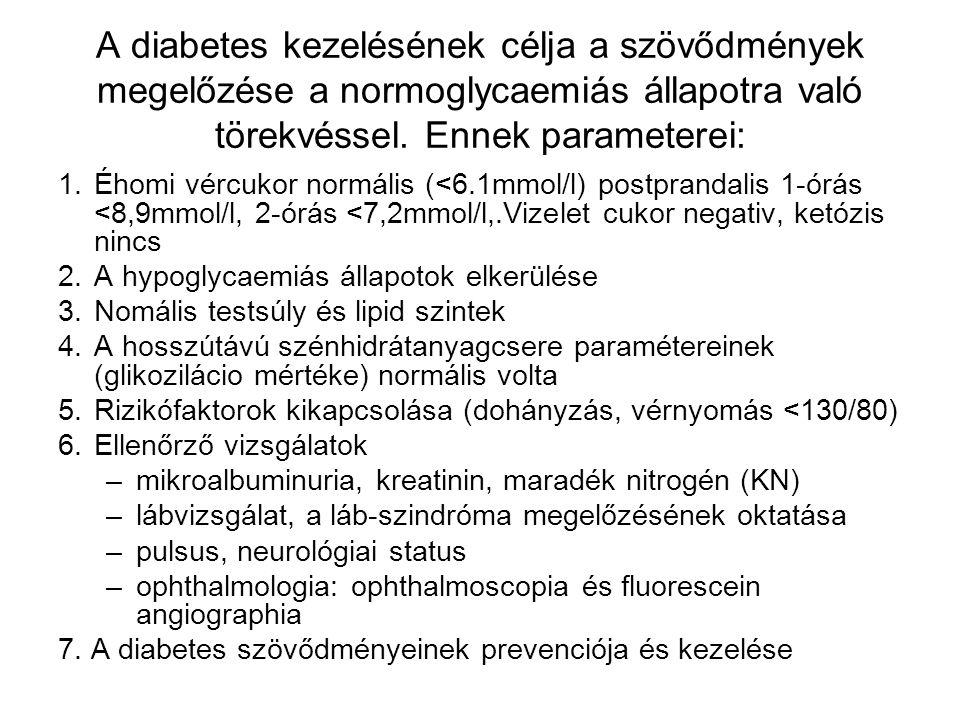 A diabetes kezelésének célja a szövődmények megelőzése a normoglycaemiás állapotra való törekvéssel. Ennek parameterei: 1.Éhomi vércukor normális (<6.