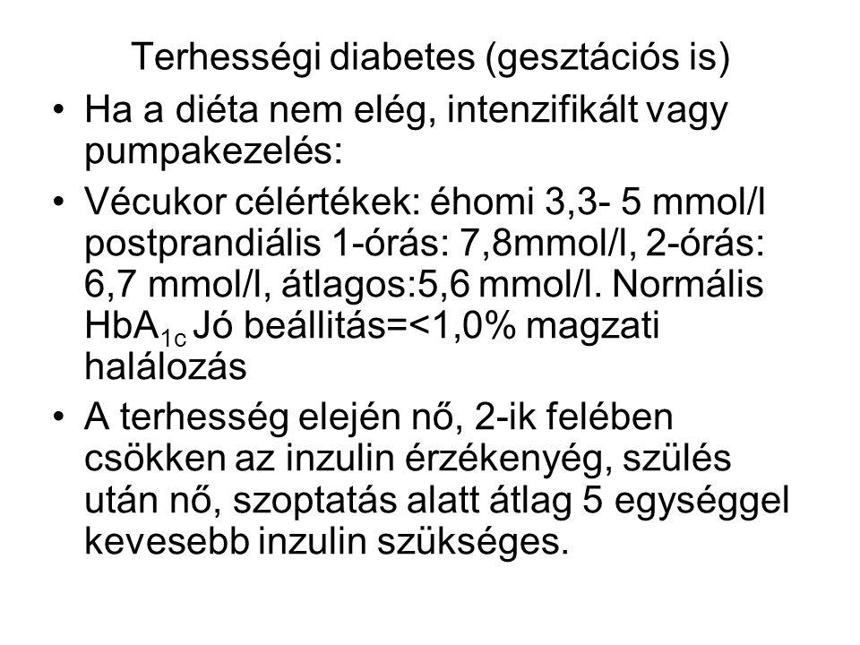 Terhességi diabetes (gesztációs is) Ha a diéta nem elég, intenzifikált vagy pumpakezelés: Vécukor célértékek: éhomi 3,3- 5 mmol/l postprandiális 1-órá